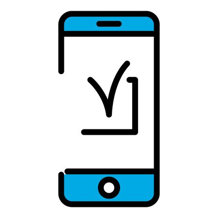 Checked smartphone icon. Outline checked smartphone vector icon for web design isolated on white background