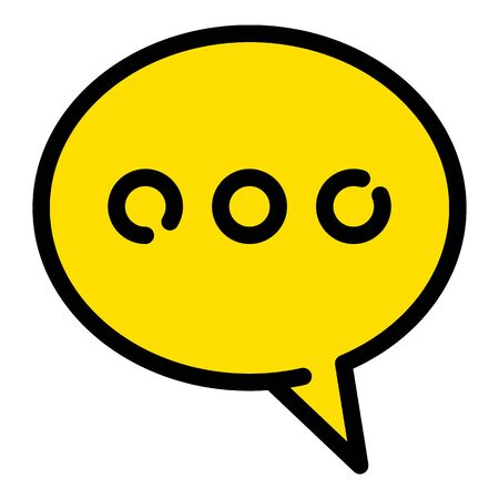 Yellow chat icon, outline style Illustration
