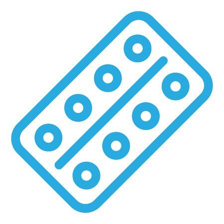 Icono de paquete de píldoras, estilo de contorno