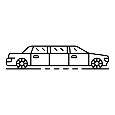 Limousine car icon. Outline limousine car vector icon for web design isolated on white background