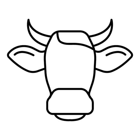 Cow head horns icon, outline style Illustration