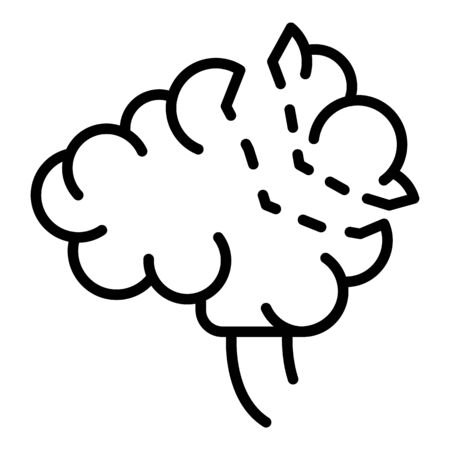 Brain cut icon, outline style