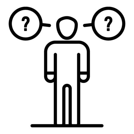Man haves questions icon. Outline man haves questions vector icon for web design isolated on white background