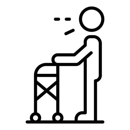 Icône de marcheur homme senior. Contours senior man walker icône vecteur pour la conception web isolé sur fond blanc