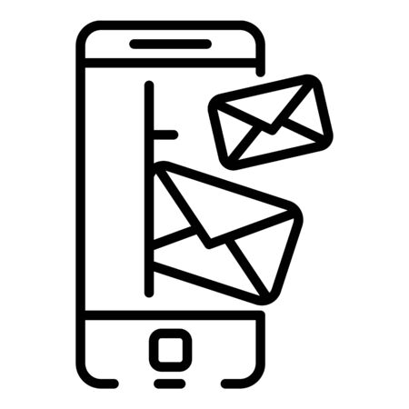 Smartphone incoming letters icon. Outline smartphone incoming letters vector icon for web design isolated on white background