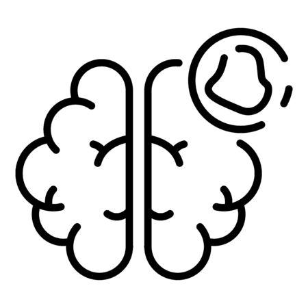 Brain amnesia icon. Outline brain amnesia vector icon for web design isolated on white background