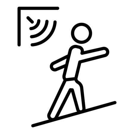 Man motion sensor icon, outline style