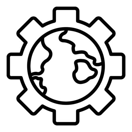 Globe in gear icon. Outline globe in gear vector icon for web design isolated on white background