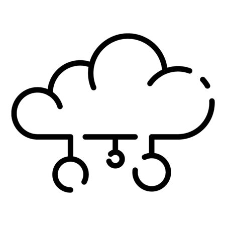 Cloud server icon. Outline cloud server vector icon for web design isolated on white background
