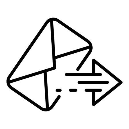 Icono de sobre y flecha, estilo de contorno
