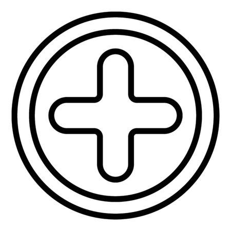 Icône de vis cruciforme, style de contour Vecteurs