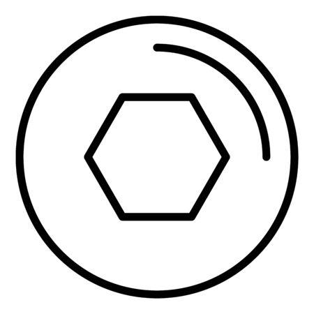 Allen key bolt icon. Outline allen key bolt vector icon for web design isolated on white background