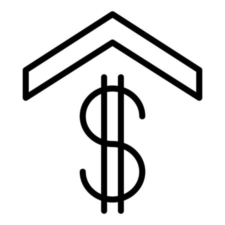 Dollar sign under the roof icon. Outline dollar sign under the roof vector icon for web design isolated on white background