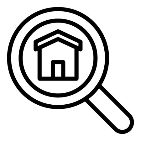 Magnifying glass and house icon. Outline magnifying glass and house vector icon for web design isolated on white background