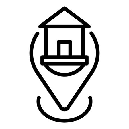 Mortgage house location icon. Outline mortgage house location vector icon for web design isolated on white background
