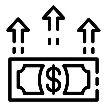 The growth of the dollar icon. Outline the growth of the dollar vector icon for web design isolated on white background