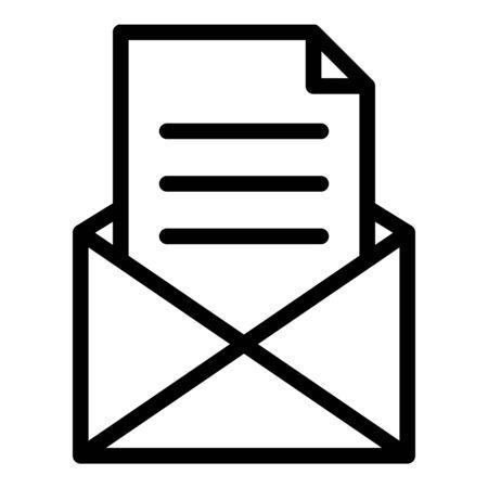 Letter in envelope icon, outline style Illustration