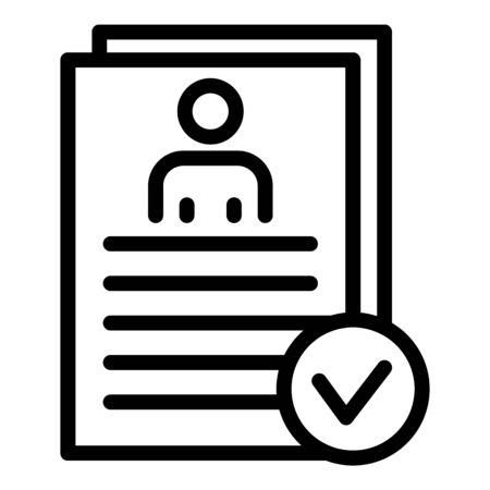 Personal data check icon. Outline personal data check vector icon for web design isolated on white background