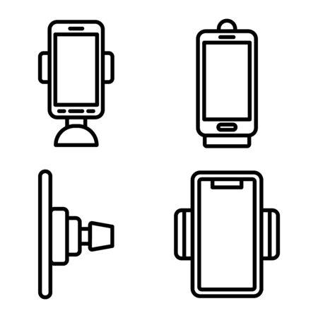 Mobile phone holder icons set, outline style Ilustração Vetorial