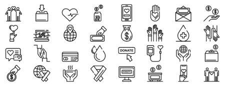 Donations icons set, outline style Vektorové ilustrace