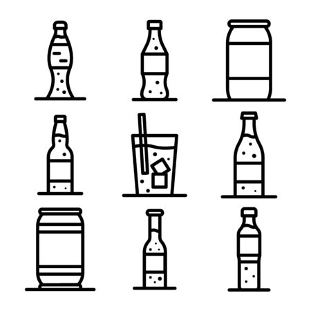 Soda icons set. Outline set of soda vector icons for web design isolated on white background