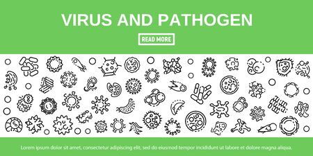 Virus and pathogen banner, outline style Illustration