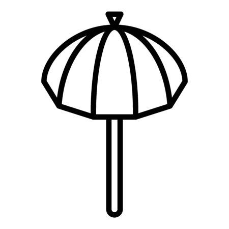 Sun umbrella icon. Outline sun umbrella vector icon for web design isolated on white background