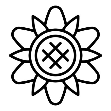 Sunflower top view icon. Outline sunflower top view vector icon for web design isolated on white background Illustration