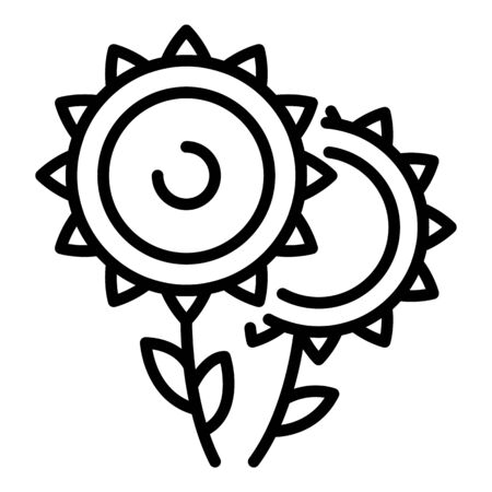 Two sunflowers icon. Outline two sunflowers vector icon for web design isolated on white background