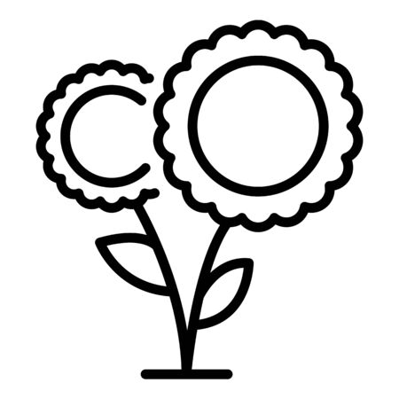 A pair of sunflowers icon. Outline a pair of sunflowers vector icon for web design isolated on white background