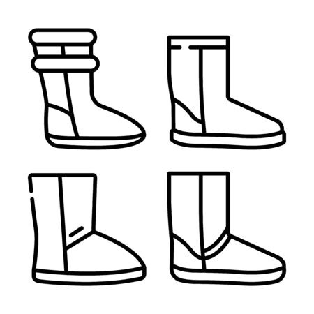 Ugg boots icons set, outline style