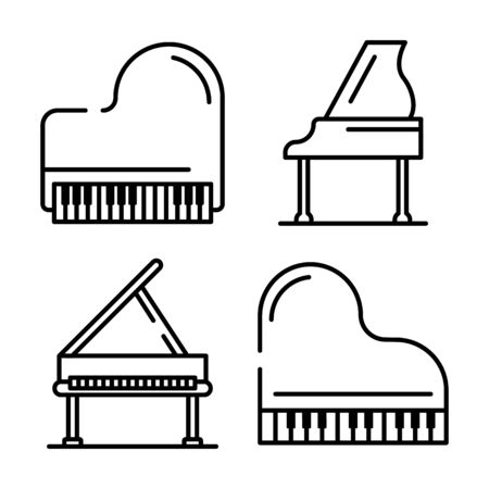Grand piano icons set. Outline set of grand piano vector icons for web design isolated on white background