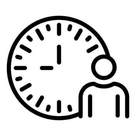 Man and analog clock icon. Outline man and analog clock vector icon for web design isolated on white background