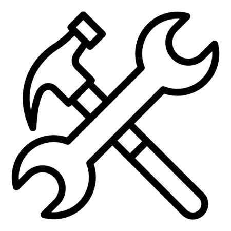 Hammer and wrench icon. Outline hammer and wrench vector icon for web design isolated on white background Ilustração