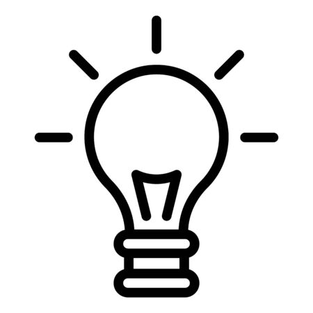 Light bulb icon. Outline light bulb vector icon for web design isolated on white background