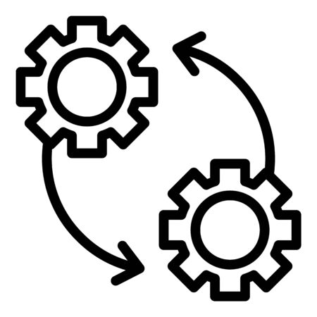 Gears and arrows icon. Outline gears and arrows vector icon for web design isolated on white background Ilustração