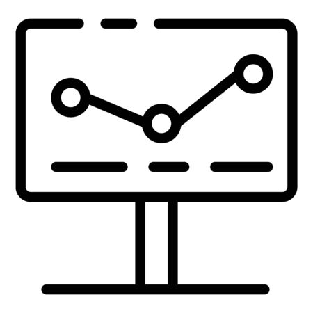 Graph on the monitor icon. Outline graph on the monitor vector icon for web design isolated on white background Ilustração
