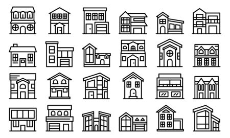 Cottage icons set, outline style