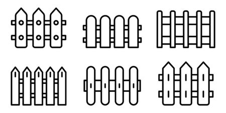 Fence icons set, outline style