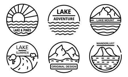 Lake logo set, outline style