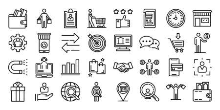 Zestaw ikon kupującego, styl konturu Ilustracje wektorowe
