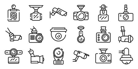 DVR camera icons set. Outline set of DVR camera vector icons for web design isolated on white background