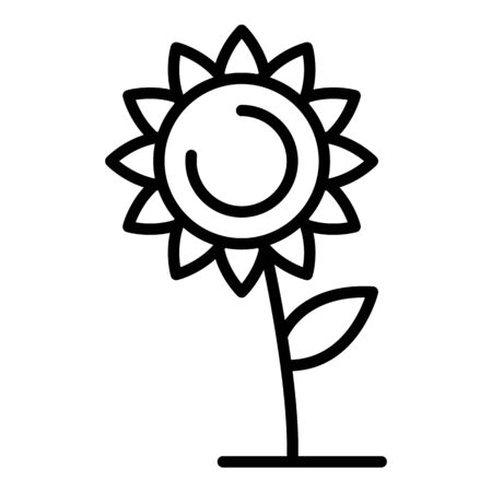 Lonely sunflower icon. Outline lonely sunflower vector icon for web design isolated on white background  イラスト・ベクター素材
