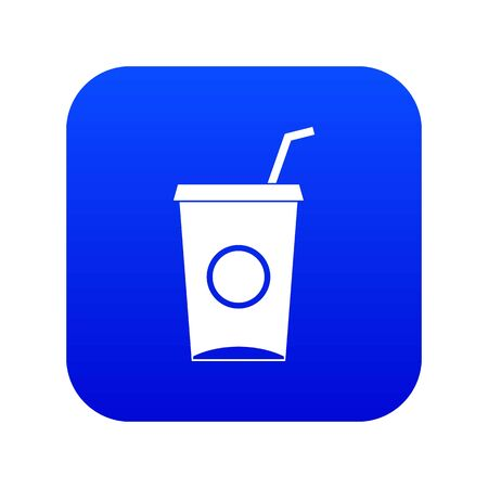 Soft drink in paper cup icon digital blue for any design isolated on white vector illustration