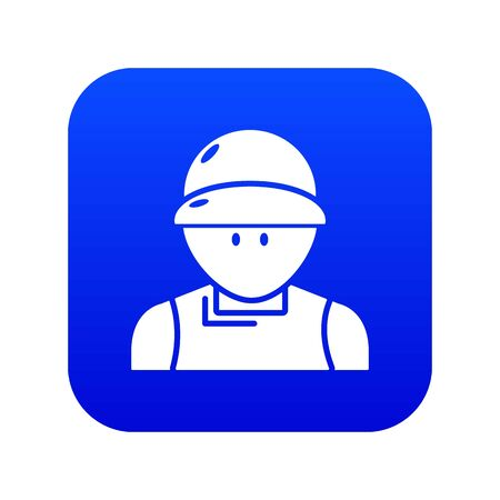 Plumber man icon blue vector isolated on white background