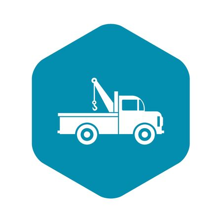 Car towing truck icon in flat style icon in simple style on a white background vector illustration Illustration