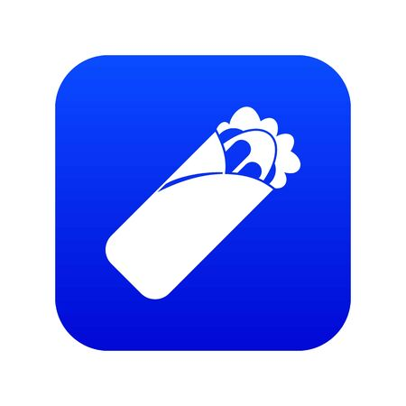 Shawarma sandwich icon digital blue for any design isolated on white vector illustration