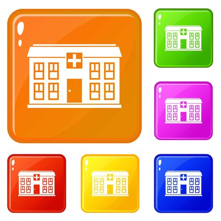 Hospital icons set collection vector 6 color isolated on white background Ilustração