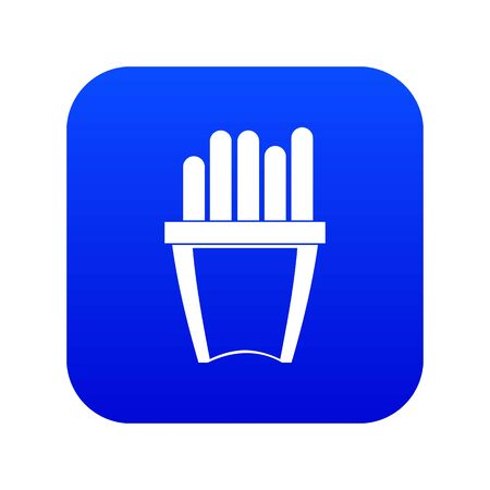 Portion of french fries icon digital blue for any design isolated on white vector illustration