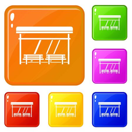 Bus stop icons set collection vector 6 color isolated on white background